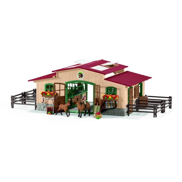 Écurie avec chevaux et accessoires