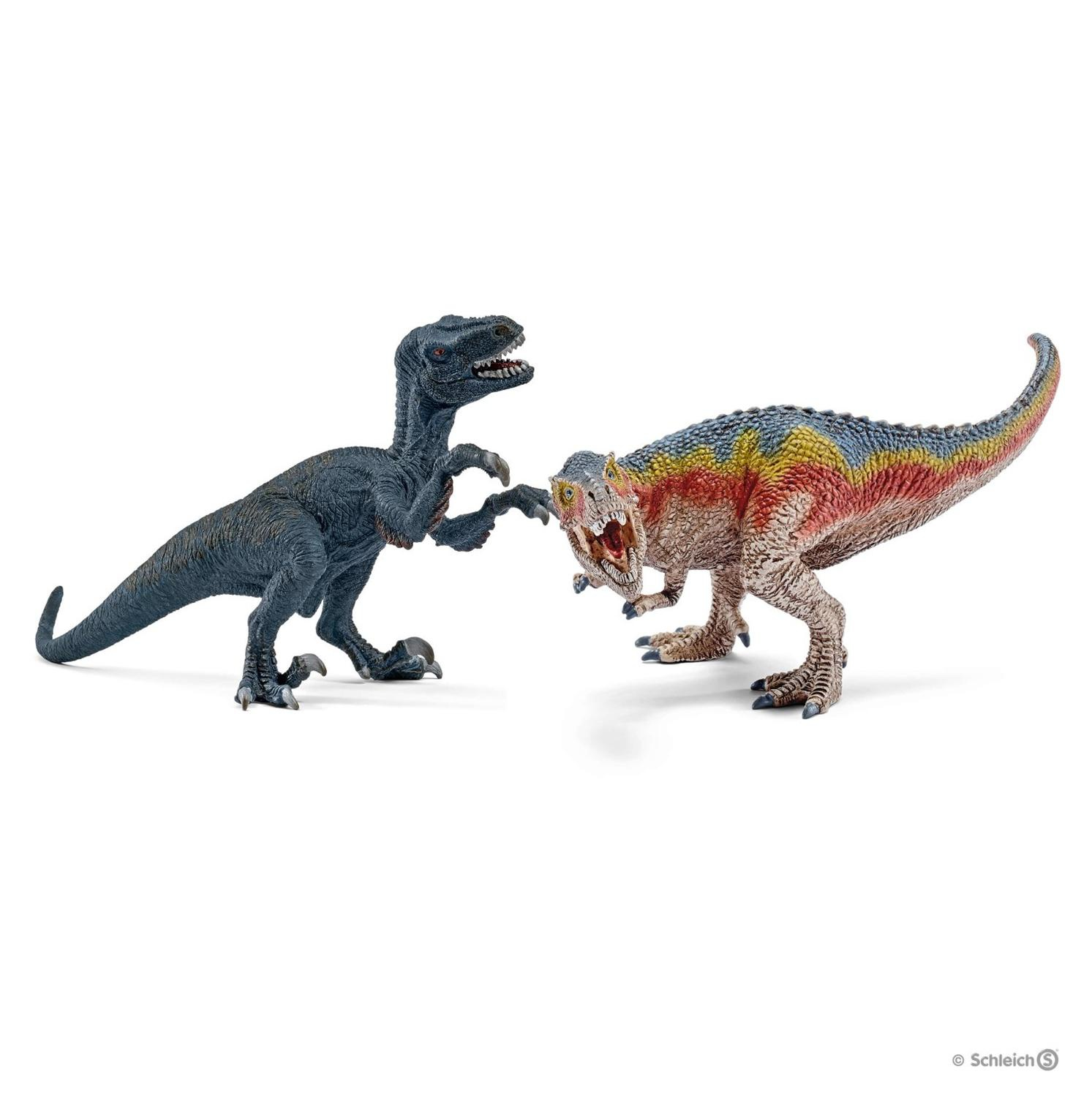 Petits tyrannosaure Rex et vélociraptor