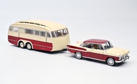 Simca Vedette Chambord 1958 & Caravane Henon Cardinal Red & Ivory